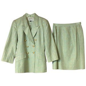 Albert Nipon Light Green Evening Skirt Suit